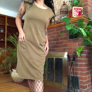 Olive Green Cotton Dress